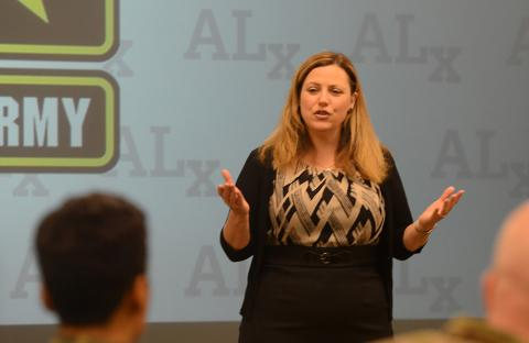 Shannon French speaking at US Army Command