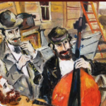 Drawing of people playing the cello and the flute