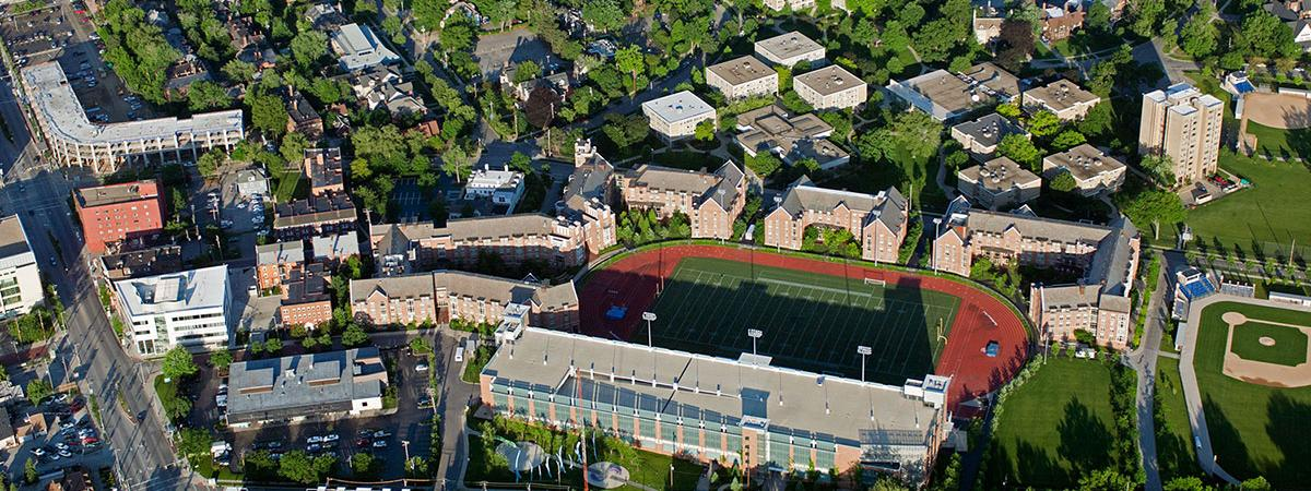 Aerial view of Case Western Reserve University campus