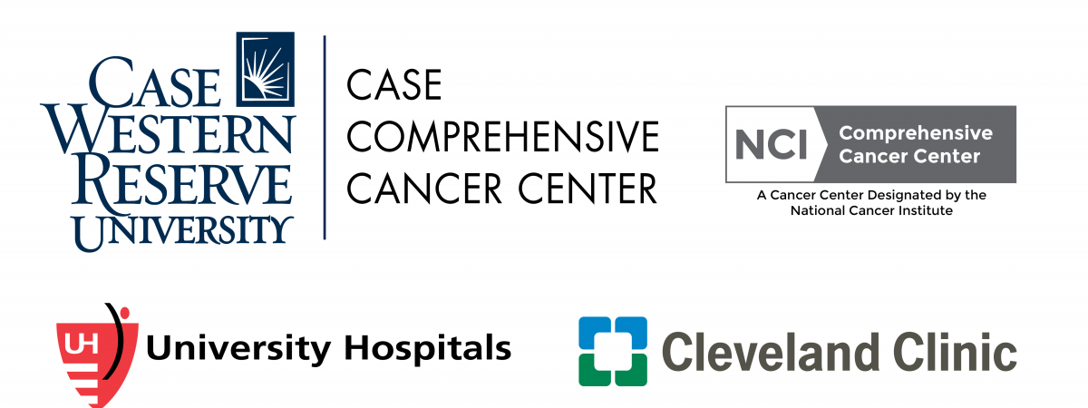 Case CCC logos - Case Comprehensive Cancer Center logo, NCI designation badge, Cleveland Clinic logo, University Hospitals logo