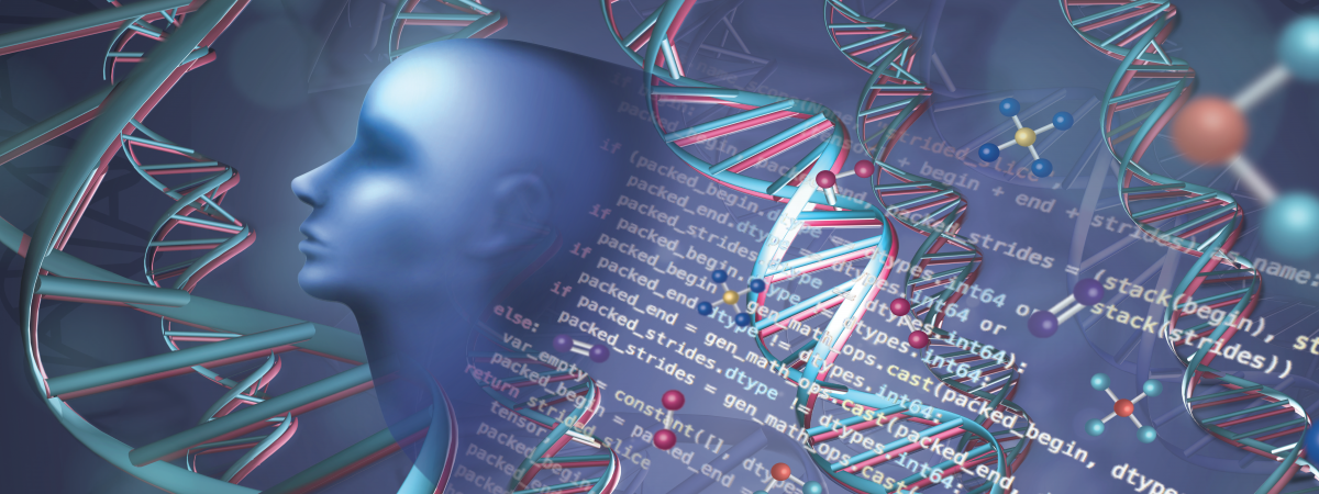 A dark blue background with DNA and molecules throughout the background. A blue silhouette head is at the forefront of the left of the image with deep learning equations in the background on the right.