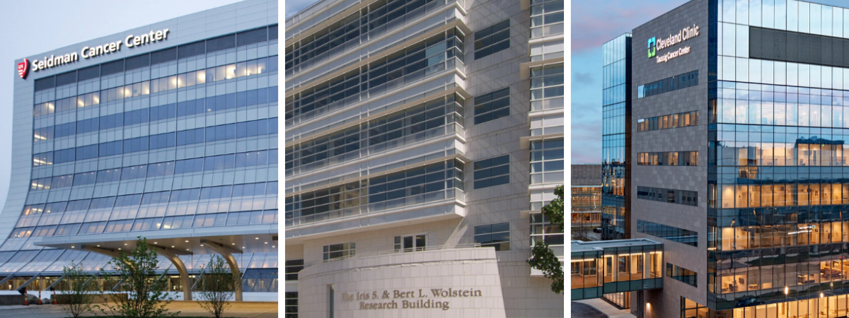 Image of three buildings - University Hospitals Seidman Cancer Center and Wolstein Research Building and Cleveland Clinic Taussig Cancer Center