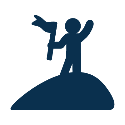 Icon of person standing on a mountain holding a flag