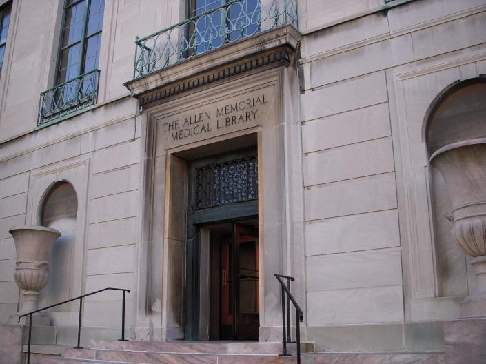 Exterior view of Allen Memorial Medical Library