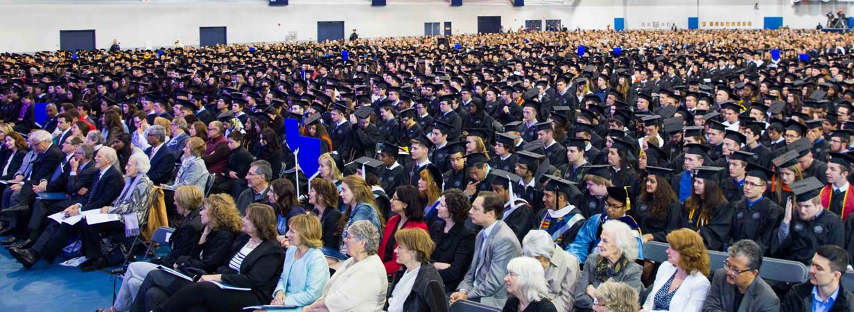 A wide view of the CWRU convocation at the Veale Convocation Center.
