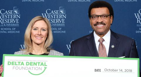 imberly Garland, Delta Dental, and Dr. Kenneth Chance, Dean of the School of Dental Medicine
