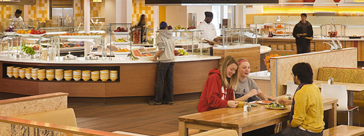 Students eating in one of the CWRU dining halls
