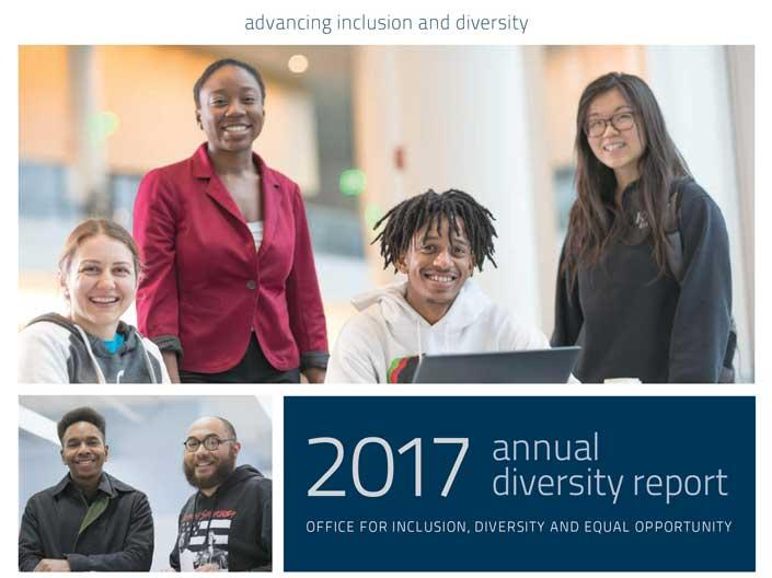 Cover of the CWRU diversity annual report for 2017 with faculty, staff and students pictured