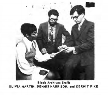 Staff of the Black History Archives at Western Reserve Historical Society in 1970. OLIVIA MARTIN, DENNIS HARRISON, and KERMIT PIKE
