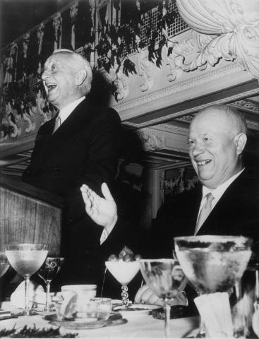 Cyris Eaton (standing) and Nikita Khrushchev (sitting) at the Biltmore Hotel lunch reception, September 30, 1960.