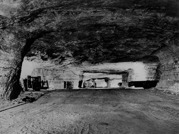 An interior view of the International Salt Co. (now Akzo-Nobel) mine underneath Whiskey Island, 1966. CPL.