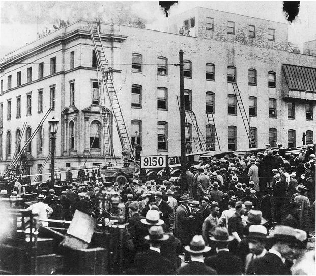 Firefighters rescue workers by ladder at the Cleveland Clinic main building during the Clinic Disaster on 15 May 1929. Courtesy of the Archives of the Cleveland Clinic Foundation and the Plain Dealer