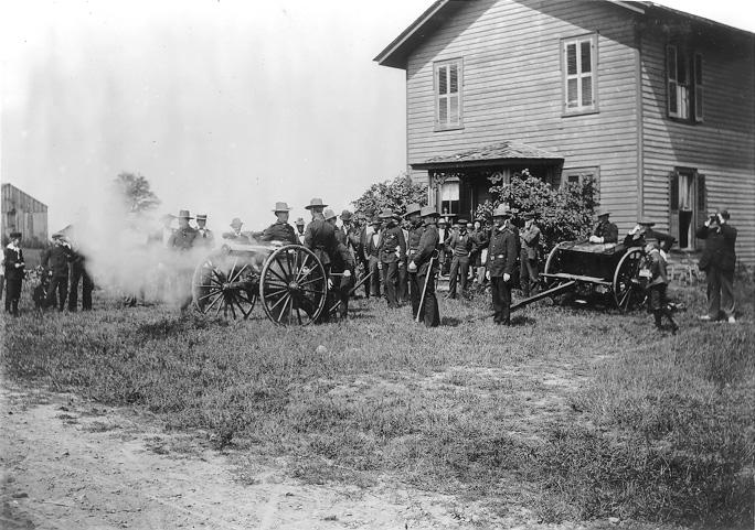 Members of the Cleveland Gatling Gun Battery test their weapons at Lake Chatauqua, ca. 1895. WRHS