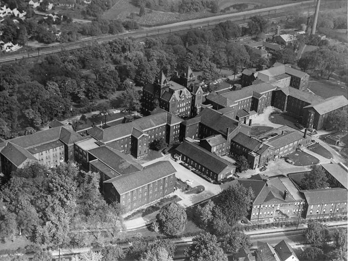 An aerial view of the Cleveland State Hospital shows the extent of the large complex on Turney Road, ca. 1951. Cleveland Press Collection, CSU Archives