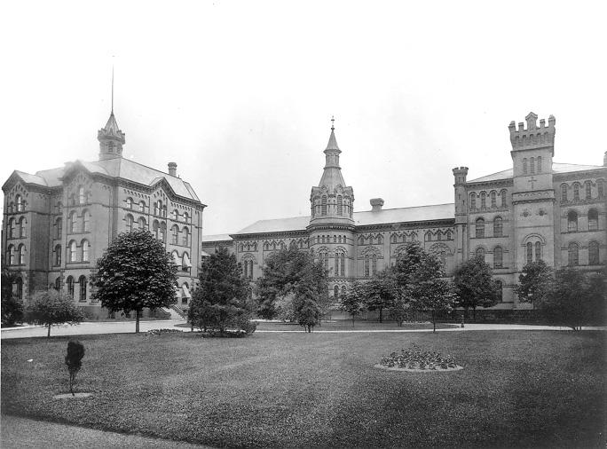 Three Gothic style buildings on Woodland Avenue served as the Cleveland Workhouse in the 1880s.  WRHS.