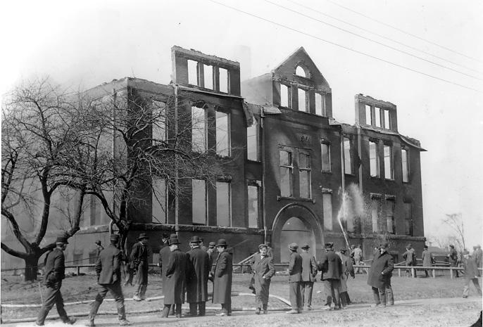 Charred aftermath of the Lakeview Elementary School after the tragic Collinwood school fire, 4 Mar. 1908. WRHS