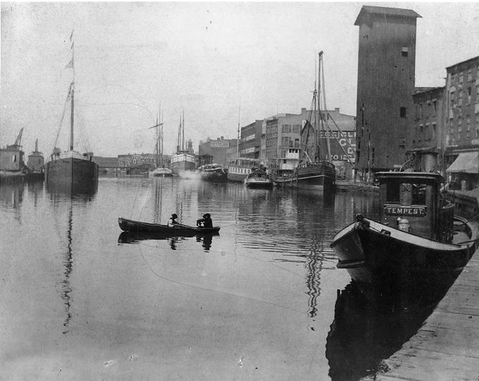 A view of the Cuyahoga River, looking north from the riverbank at Superior Ave., 1870. WRHS