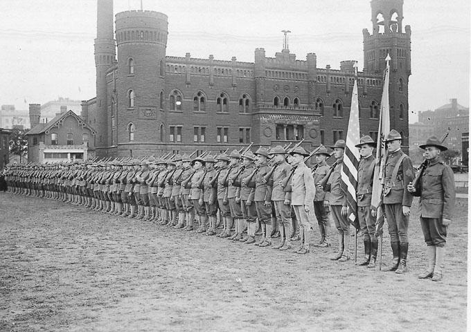 Soldiers stand in formation outside the Central Armory on Lakeside Avenue during World War I. WRHS