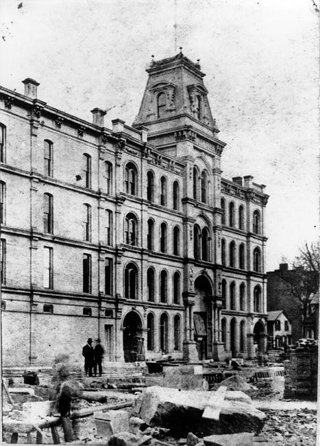 Construction of the Euclid Ave. Opera House at Euclid and East 4th street is nearly completed in this view  from the mid 1870s. WRHS