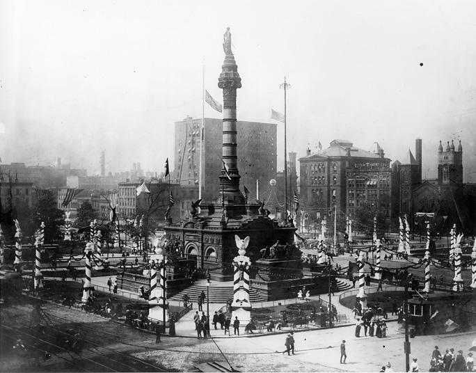 Public square and the Soldiers and Sailors Monument are decorated for the Grand Army of the Republic Convention in 1901. WRHS
