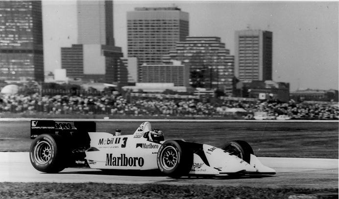 IMG Motor Sports driver Paul Tracy maneuvers through the course at the 1994 Grand Prix of Cleveland. Courtesy of IMG Motor Sports.