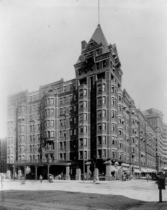 he enormous Hollenden Hotel dominates the corner of Superior Ave. and E. 6th St. in 1906. WRHS