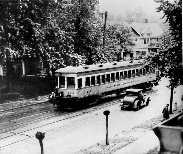 A Lakeshore Electric Railway interurban car, ca. 1920s. WRHS.