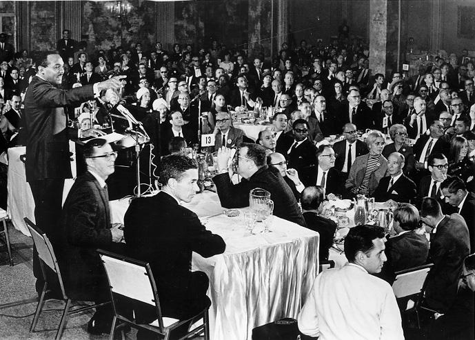 Debate of Carl B. Stokes and Seth Taft at the City Club of Cleveland during the 1967 mayoral campaign. Cleveland Press Collection, CSU Archives/Photo by Bill Nehez.