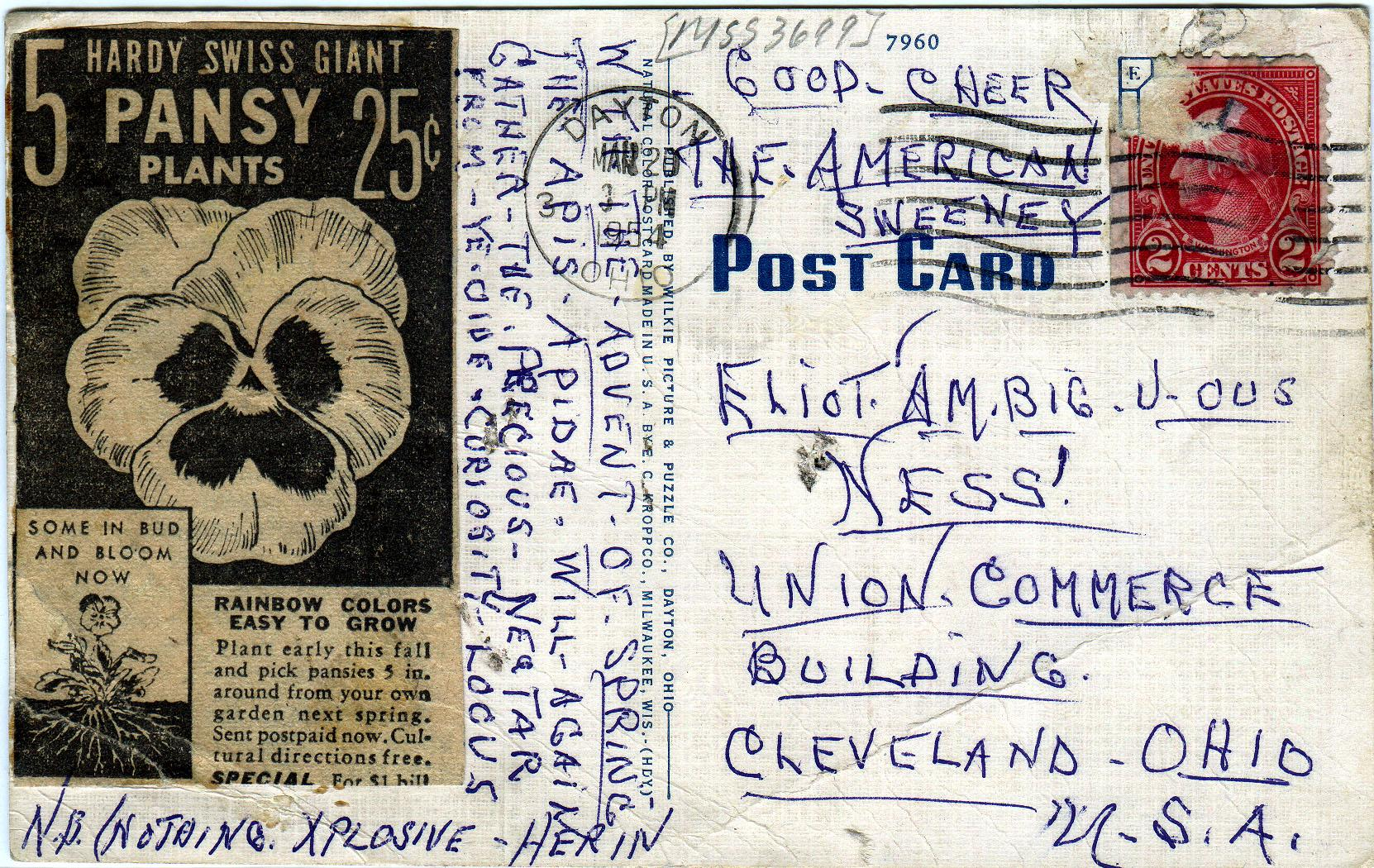 Postcard (1 of 5) sent to Elliot Ness in 1954 by an asylum inmate believed by some to be the Torso Murderer.
