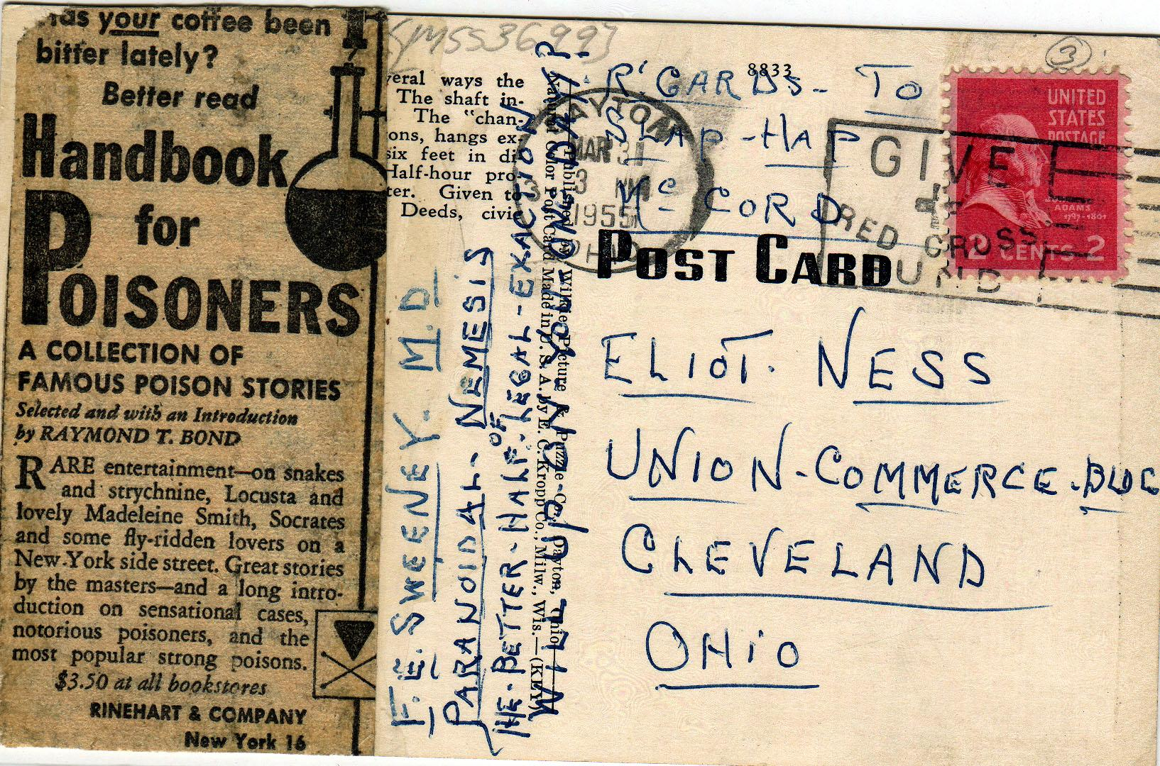 Postcard (4 of 5) sent to Eliot Ness in 1954 by an asylum inmate believed by some to have been the Torso Murderer. WRHS.