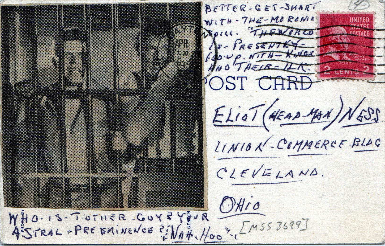 Postcard (5 of 5) sent to Eliot Ness in 1954 by an asylum inmate believed by some to have been the torso murderer.