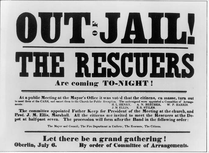 Call for public celebration of the return of the Oberlin-Wellington Rescuers, July, 1859. Oberlin College Archives.