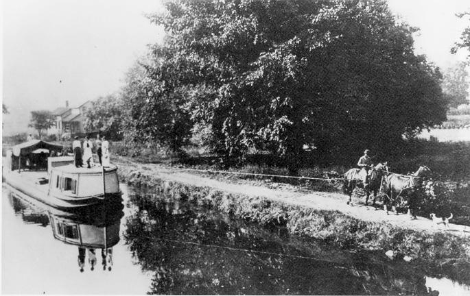 State Boat No. 1, south of Stone Rd., on the Ohio-Erie Canal, 1902. WRHS, Courtesy of Cuyahoga Valley National Recreation Area.