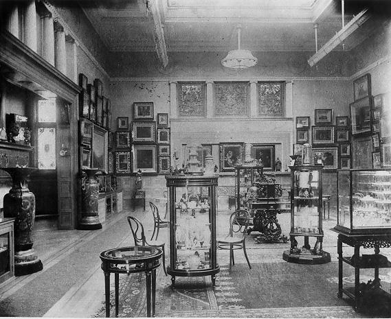 Interior view of the Olney Art Gallery, ca. 1890s. The collection was later transferred to the Dudley Allen Memorial Art Museum at Oberlin College. WRHS.