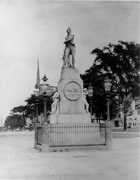 The Perry Monument, when it was situated on Public Square during the 1870s. WRHS.
