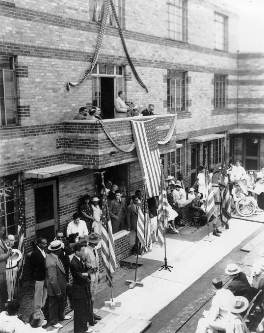 Dedication ceremonies at Outhwaite Homes, Aug. 1937. WRHS.