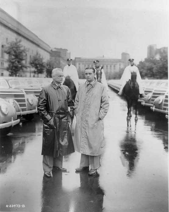 Mayor Harold Burton (left) and Safety Director Eliot Ness pose with the Police Department