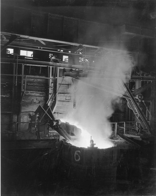 An open hearth furnace at Republic Steel