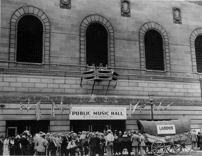 The Alf Landon Bandwagon in front of Public Hall at the 1936 GOP Convention. CPL.