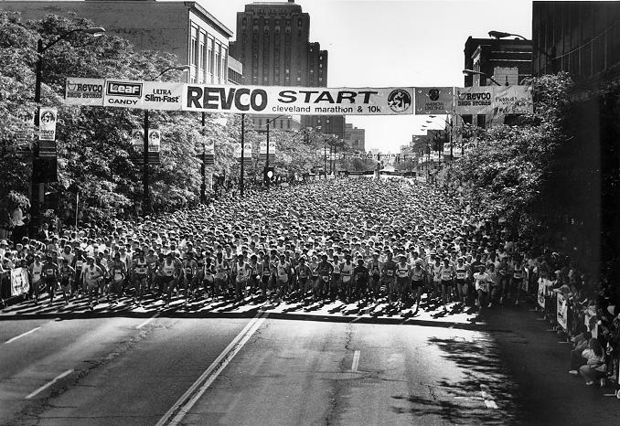 The Euclid Ave. starting line of the 1991 Revco Cleveland Marathon and 10K. Courtesy of Edward Howard and Co.; Stephen Crompton Photography.