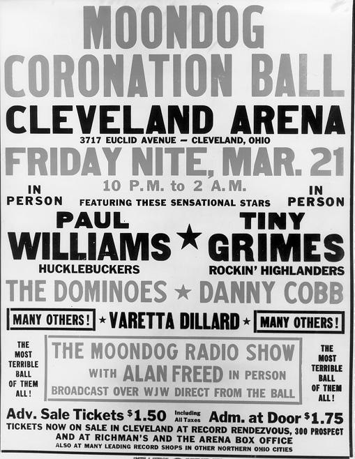 Announcement of the Moondog Coronation Ball at the Cleveland Arena, March 1952. WRHS.