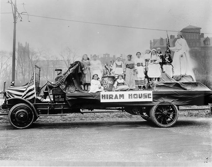 Hiram House float in the 1919 Community Fund Parade. WRHS.