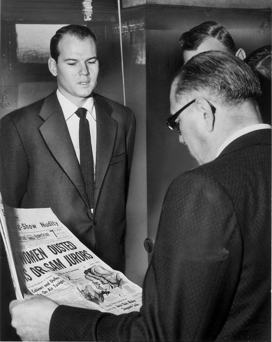 Dr. Sam Sheppard and Defense Counsel Fred Garmone outside the court chambers, 26 Oct. 1954. Courtesy of the Plain Dealer.