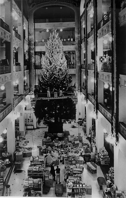 Decoration of the famous Sterling-Lindner Christmas tree, ca. 1967. CPL.