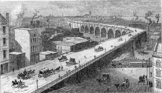 A Drawing of the Superior Ave. Viaduct from the 1880s. WRHS.