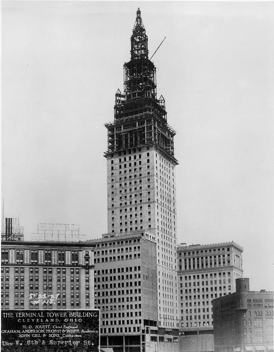Construction on the Terminal Tower, Aug. 1927. Courtesy of Tower City Archives.