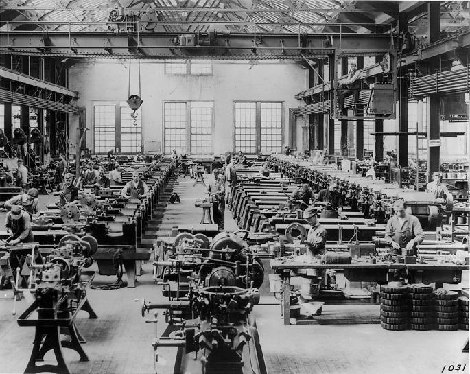 An interior view of the Turret Lathe Assembly Department at Warner & Swasey Co., ca. 1912. Cleveland Press Collection, CSU Archives.