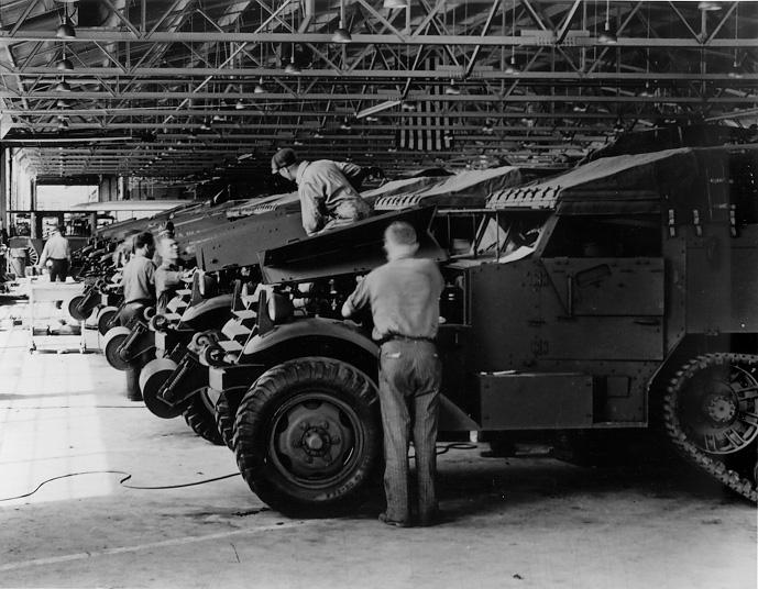 Workers assemble half-trac combat vehicles at the White Motor Co. Plant, 1941. CPL.