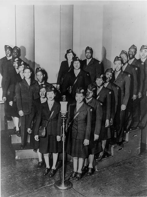 "Members of the Wings Over Jordan Choir, wear military-style uniforms and stand in the ""V for Victory"" formation in this early 1940s image. WRHS."