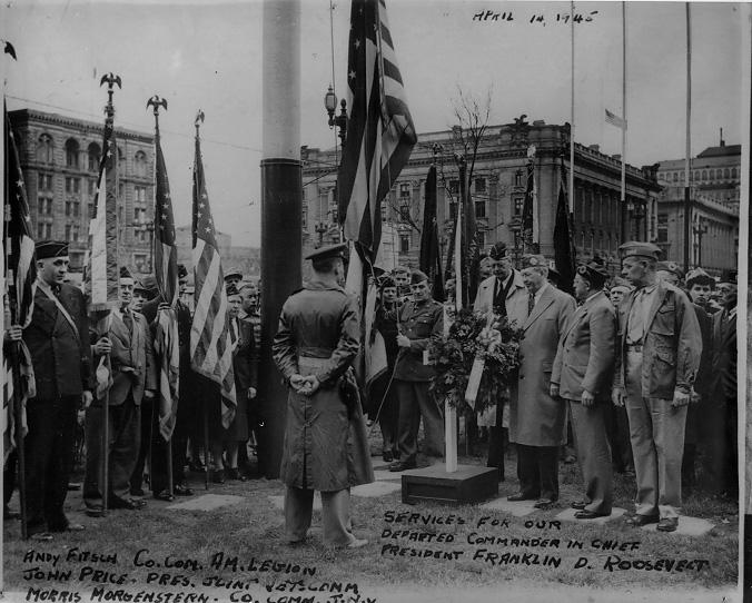 Cleveland area veterans commemorate the death of Franklin D. Roosevelt with a memorial service on Public Square, 14 Apr. 1945. WRHS.